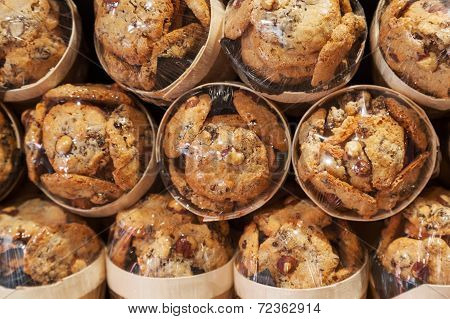 Traditional French Cookies With Nuts Lay Packed In The Bakery