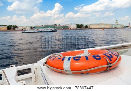 Saint Petersburg, Russia - August 7, 2014:  View Of The Neva River From The Excursion Boat In Summer