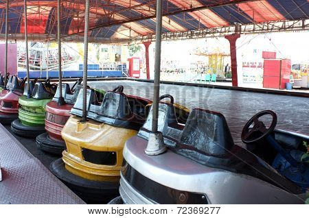 Dodgem cars parked in funfair