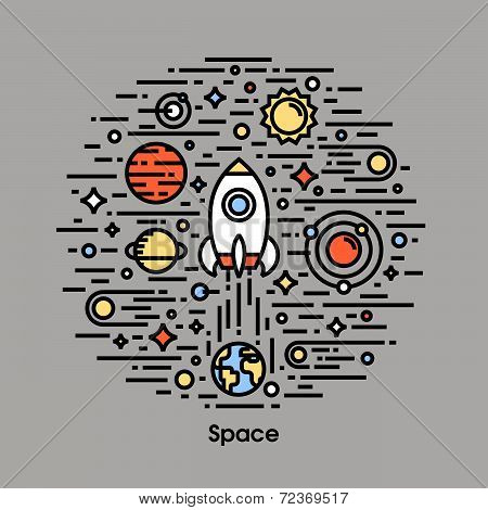 Planets, Stars And Rocket. Space Theme Icons
