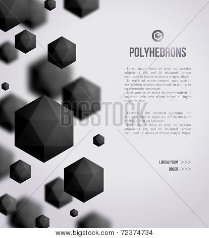 Abstract Black Geometric Shapes On Bright Background.