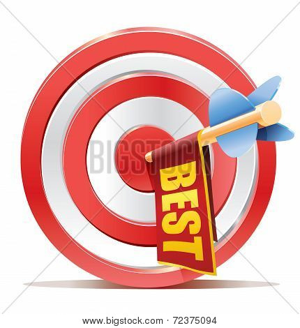 Red darts target aim and banner BEST