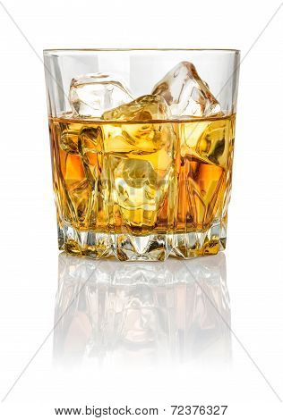 Whisky on the rocks on a white background