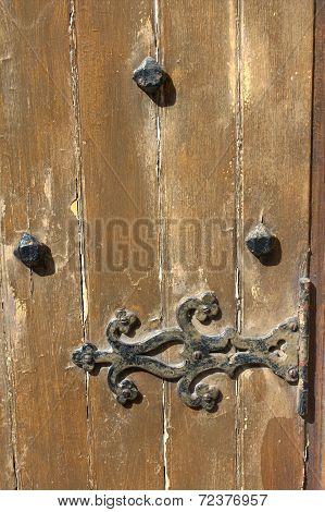Old Wooden Door With Metal Design