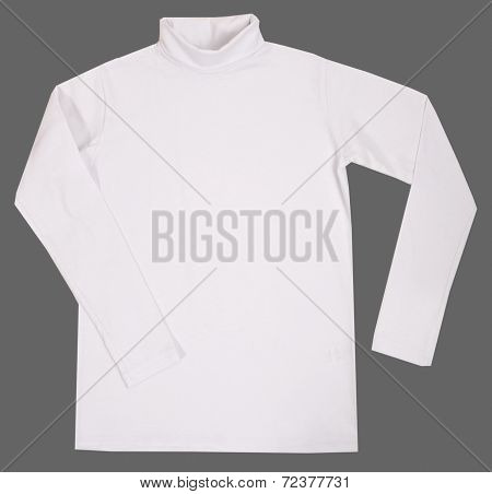 Child turtleneck. Isolated on gray background.