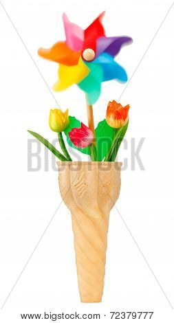 Ice Cream Cone With Pinwheel And Flowers