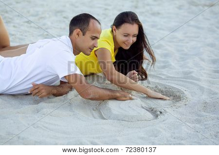Happy couple portrait on beach