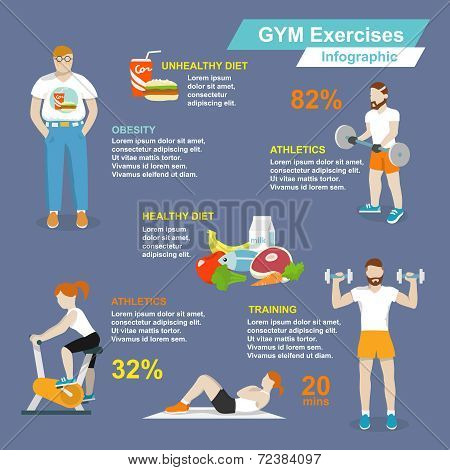 Gym sport exercises infographic