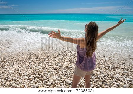 Carefree woman on beach
