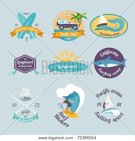 Surfing labels set