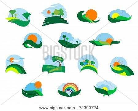 Summer and autumn agricultural landscape icons