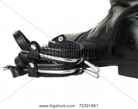 Horse Riding  Dressage Boots And Spurs Isolated On White. Close Up