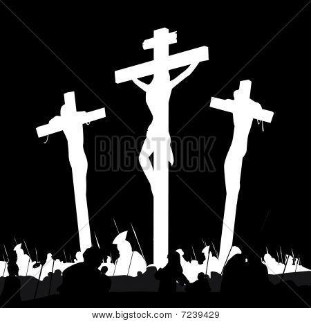 Escena del Calvario de crucifixión en blanco y negro
