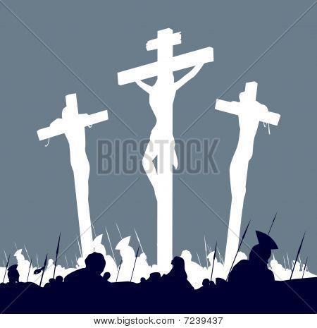 Crucifixion calvary scene in black and white