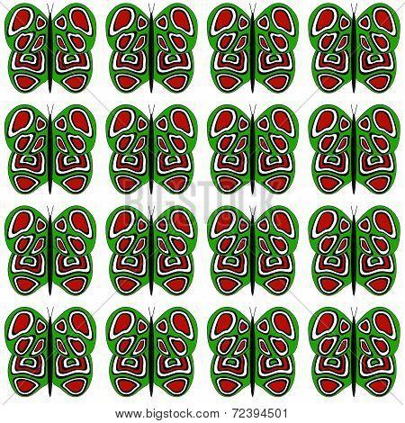 Green-Red-White Medium Butterfly Pattern