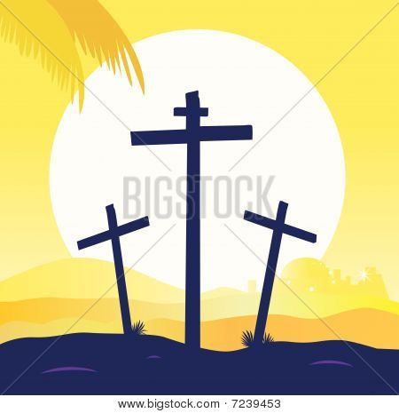 Sunset.epsJesus crucifixion - calvary scene with three cross