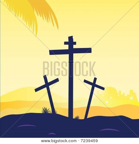 Jesus crucifixion - calvary scene with three cross