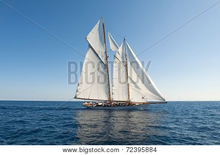 Ancient Sailing Boat During A Regatta At The Panerai Classic Yachts Challenge From 10 September 2014