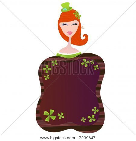 St. Patrick's Day label with four leaf clovers and girl