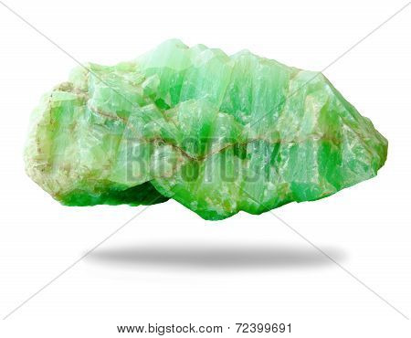 Nature Mineral Of Jade Stone On White Background.
