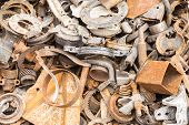 foto of scrap-iron  - scrap iron unused rubble remnant of iron texture background - JPG