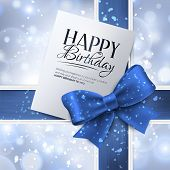 picture of birthday  - Birthday card with blue ribbon and birthday text - JPG