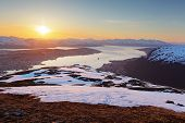 picture of tromso  - Sunset in moutain with fjord  - JPG