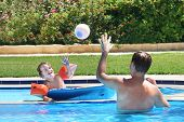 picture of pool ball  - Father And Son Playing Ball In A Swimming Pool - JPG