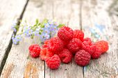 stock photo of eat me  - fresh raspberries with floral forget - JPG