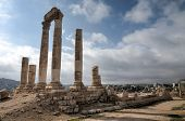 stock photo of amman  - Temple of Hercules on the Citadel in Amman Jordan - JPG