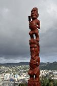 picture of maori  - Red statue of Maori idol on the top hill in Wellington New Zealand - JPG