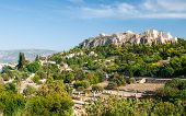 pic of parthenon  - Famous Acropolis hill with the Parthenon monument from the ancient Market in Athens Greece - JPG