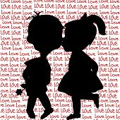 pic of full cheeks  - Card with cartoon silhouettes of a boy and a girl kissing - JPG