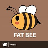 stock photo of flying-insect  - Cute fat bee flying symbol icon on brown background - JPG