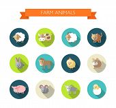 picture of cattle dog  - Set of vector flat design icons with farm animals - JPG