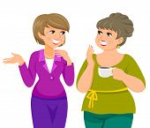 picture of maturity  - two mature women talking happily and drinking coffee - JPG