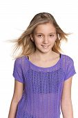 stock photo of  preteen girls  - A portrait of a pretty preteen girl against the white background - JPG