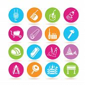 stock photo of habilis  - set of 16 construction icons in colorful circle buttons - JPG