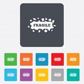 picture of fragile sign  - Fragile parcel sign icon - JPG