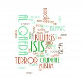 image of isis  - ISIS and Al Qaeda word cloud on white background - JPG