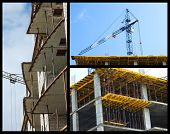 stock photo of boom-truck  - Construction of buildings collage made of three images - JPG