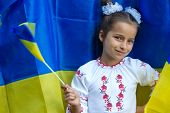stock photo of national costume  - girl in national ukrainian costume against of Ukrainian flag - JPG