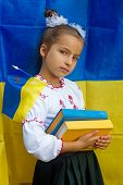 image of national costume  - girl in national ukrainian costume against of Ukrainian flag - JPG