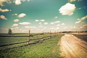 stock photo of blue  - Sunny day in countryside - JPG