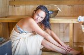 picture of sauna  - Young pretty woman in sauna health relax - JPG