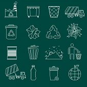 pic of landfills  - Garbage recycling icons outline set of landfill truck bottle isolated vector illustration - JPG