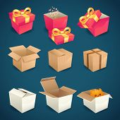 stock photo of packages  - Box and package gift delivery icons set isolated vector illustration - JPG