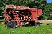 foto of sibiu  - sibiu city romania ethnic museum vintage red thresher - JPG