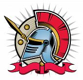 stock photo of hoplite  - ornament hoplite helmet pattern design shield with banners - JPG