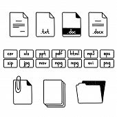 image of png  - Hand draw doodle sketch set of document file fomats icons - JPG